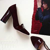 Женские туфли на каблуке . Натуральаня лак. кожа + натуральный замш. Возможен отшив в других цветах