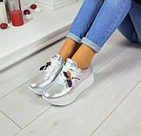 Женские кроссовки Richi материал натуральная кожа, цвет серебро