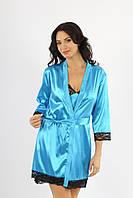 Женский-халатик кимоно с кружевом на запах, рукав три четверти, размеры S, M, L, XL. Разные цвета.