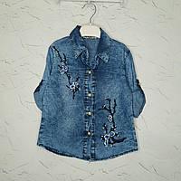Джинсовая рубашка для девочки 5 лет, Блузка джинсовая  на девочку в розницу