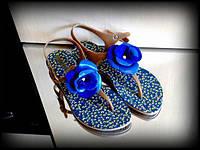 Босоножки женские с синим цветком силикон