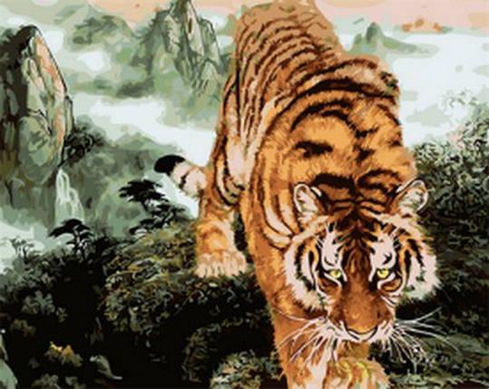 MR-Q1887. Набор-раскраска по номерам Крадущийся тигр, фото 2