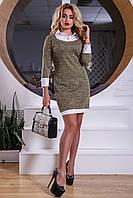Трикотажное серо-коричневое платье 2539 Seventeen 44-50 размеры