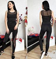 Женский черный костюм для фитнеса со вставками  сеткой