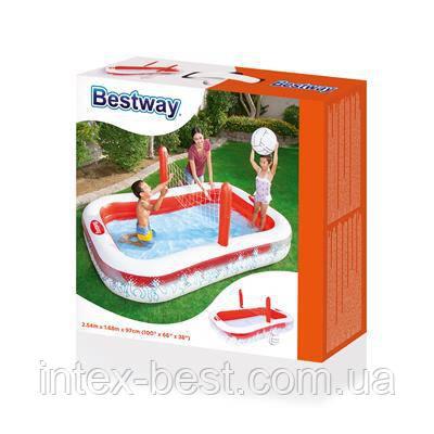 """54125 BW Надувной игровой бассейн """"Волейбол"""" 254х168х97 см, 636 л. + мяч, фото 2"""