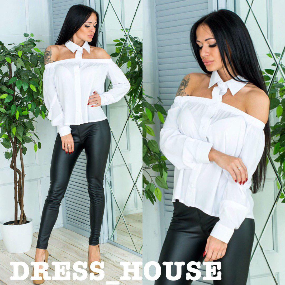 Женская блуза с открытыми плечами и воротником 51394, фото 1