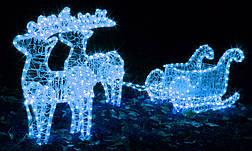 Рождественский светодиодный олень с санками, фото 2