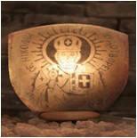 Светильник соляной:  Дева Мария, Николай Чудотворец, глобус, гном