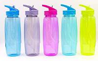 Бутылка для воды спортивная с камерой для льда 6436: 5 цветов, объем 750мл