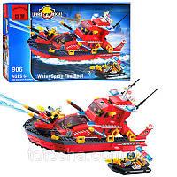 Конструктор Brick Enlighten Fire Rescue Пожарный катер Лодка, 340 дет., 906, 006760, фото 1