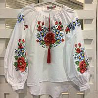 Женская вышиванка с цветами Мальва
