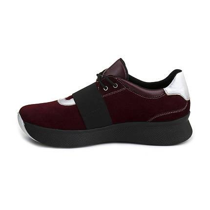 Бордовые замшевые кроссовки на высокой подошве, фото 2