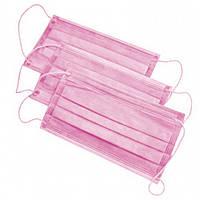 Маска медицинская на резинке(розовый) 50 шт Polix PRO&MED