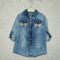 Джинсовая рубашка для девочки 10 лет, Блузка джинсовая  на девочку в розницу
