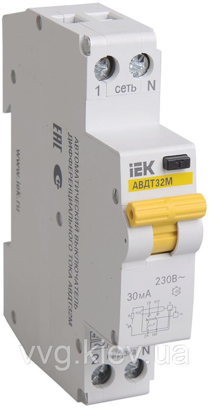 Дифференциальный автоматический выключатель АВДТ32М В10 10мА IEK
