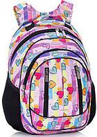 Школьный рюкзак с ортопедической спинкой Dolly 504 розовый, голубой