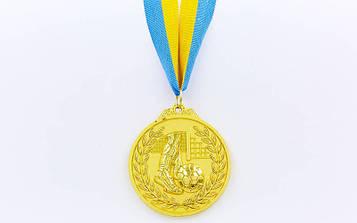 Медаль спортивна зі стрічкою двоколірна Футбол 6,5 см (метал, 1-золото, 2-срібло, 3-бронза) 10шт