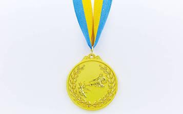 Медаль спортивна зі стрічкою двоколірна Карате 6,5 см (метал,покр. 2тона, 1-золото, 2-срібло, 3-бронза)