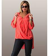 Рубашка-фрак коралловая размеры от XL 3057