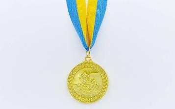 Медаль спортивна зі стрічкою Футбол (метал, d-5см, 25g, 1-золото, 2-срібло, 3-бронза) 10шт