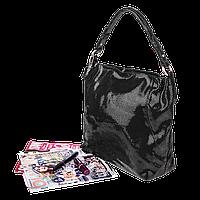 Кожаная женская сумочка Realer 2032-1 (Черная)