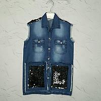 Джинсовая рубашка для девочки 4 года, Блузка джинсовая  на девочку в розницу