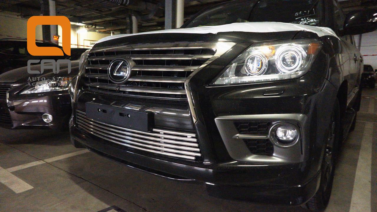 Решетка переднего бампера (нижняя, в бампер) Lexus LX570 (2014-2015) /