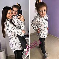 Одежда мама и дочка  family look (белый и черные)