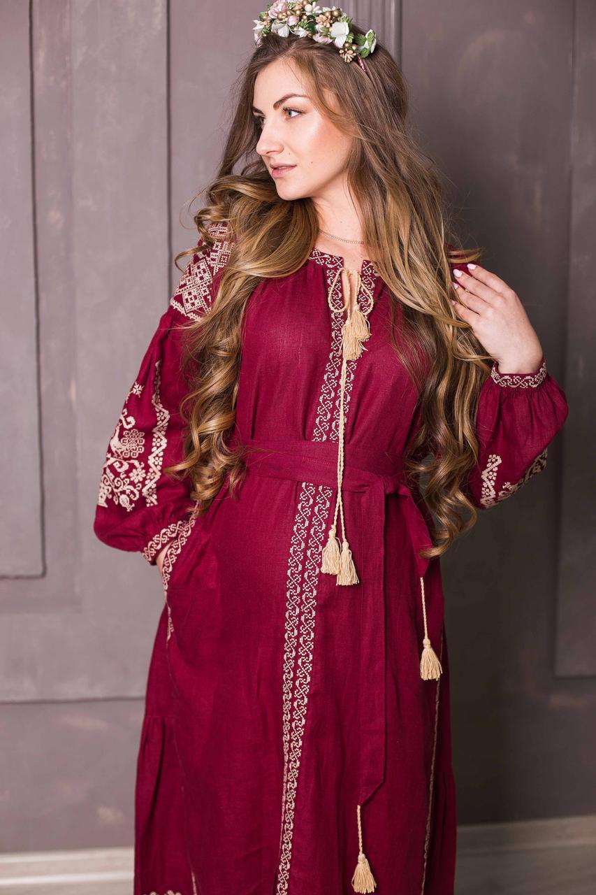 f508ced3094460 Вишите лляне довге бордове плаття з машинною вишивкою: продажа, цена ...