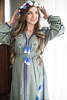 Вишите лляне довге оливкового кольору плаття з машинною вишивкою, фото 1