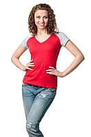 Двухцветная футболка женская красный