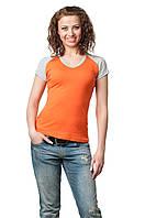 Двухцветная футболка женская оранж
