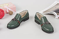 Туфли лоферы зеленые
