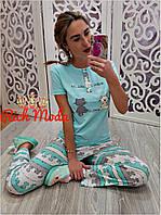 Женский домашний костюм - пижама, в расцветках, Турция