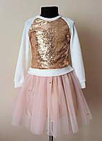 Нарядный детский костюм для девочек кофточка и юбка, фото 1