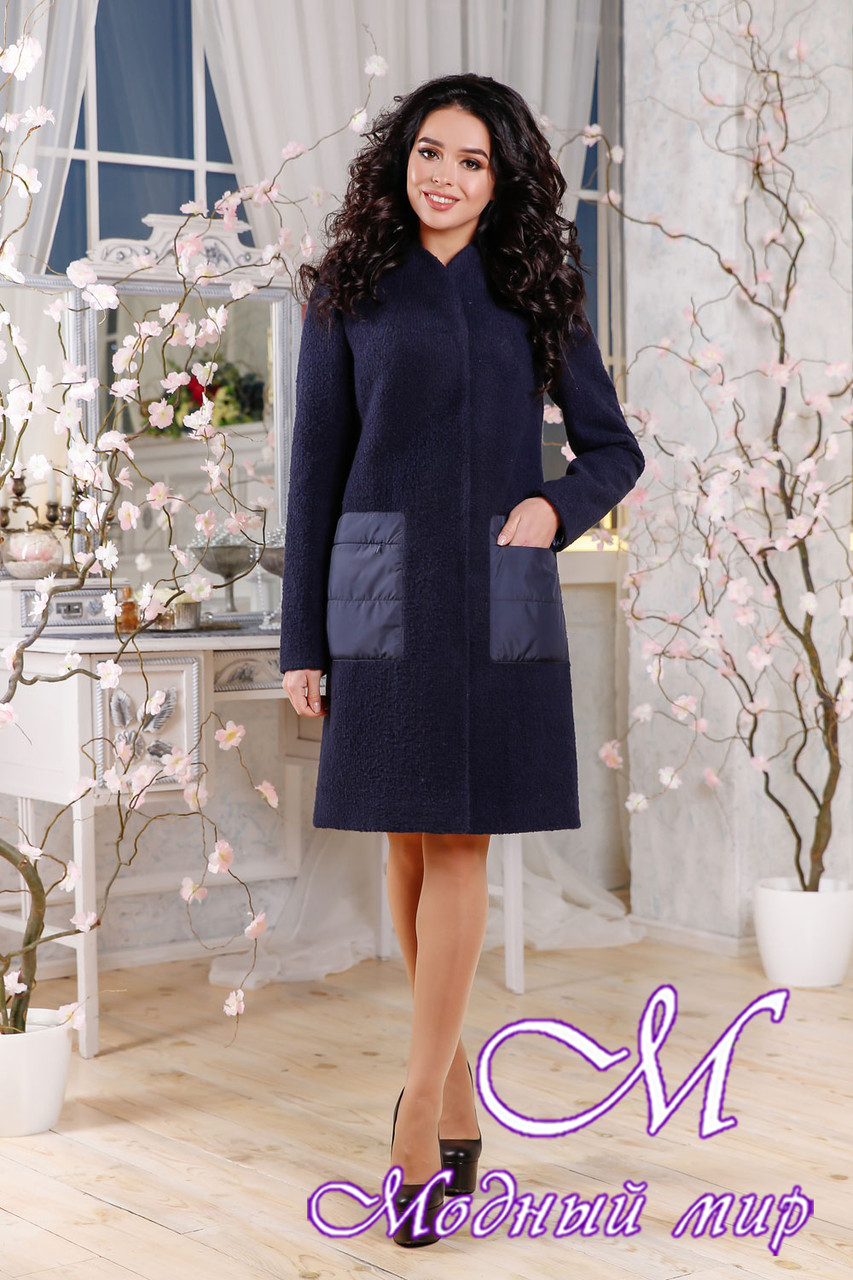 Женское синее пальто весна-осень (р. 44-54) арт. 1108 Тон 25