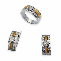 Гарнитур из серебра с золотыми вставками, модель 020