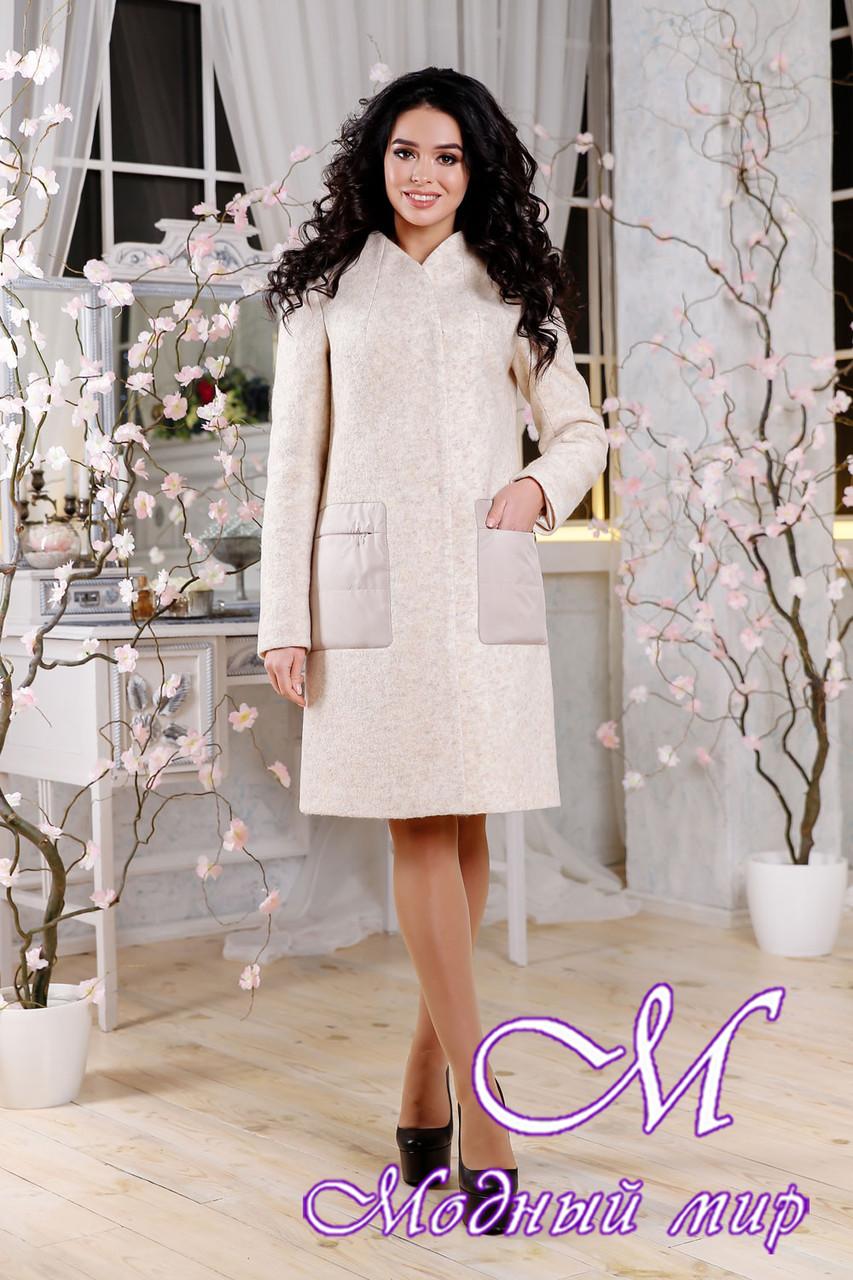 Женское бежевое пальто весна-осень (р. 44-54) арт. 1108 Тон 87