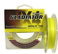Шнур GLADIATOR (желтый 4-х жильный) 100m/0.08mm