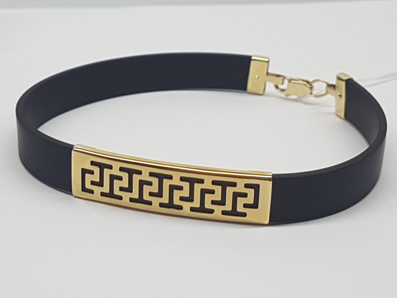 Золотой браслет с каучуком. Артикул 910034М 22