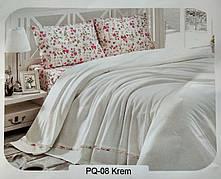 """Летний набор постельного белья в комплекте с ПИКЕ First Choice """"Soft Pike Takimi Krem"""""""
