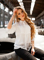 Белая офисная блуза на лето