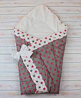 Осенний/весенний конверт одеяло для новорожденных на выписку   90х90см Серый малиновые звезды