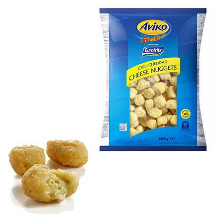 Aviko Chilli Cheddar Cheese Nuggets block pallet Чілі чеддер 1 кг, фото 2