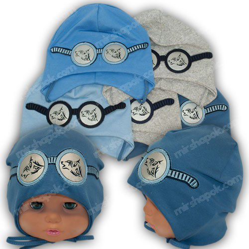 Детские трикотажные шапочки с завязками, р. 44-46