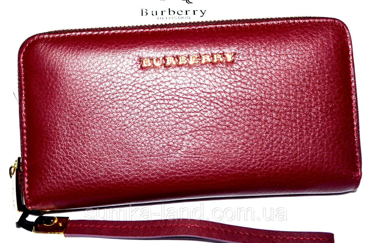 Женский бордовый кошелек Barberry из натуральной кожи на молнии 19,5*10 см