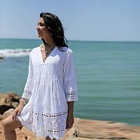 Платье  белое летнее  из хлопка  336 F