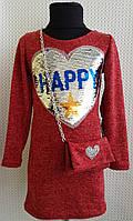 Детское платье для девочки красное Зара 122, 128, 134, 140см трикотаж+ аппликация паеткисумка