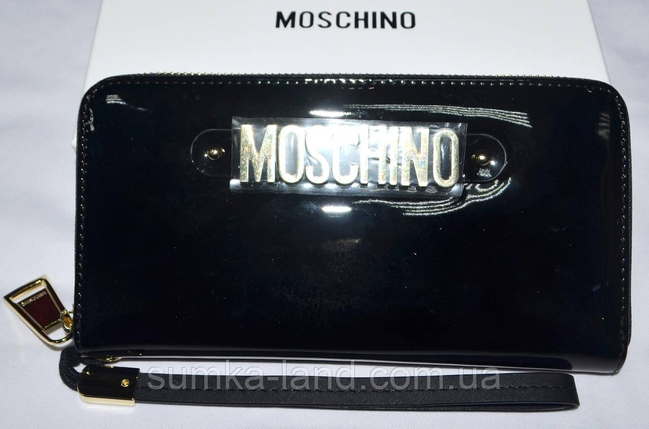 Женский черный лаковый кожаный кошелек Moschino на молнии 19,5*10,5 см
