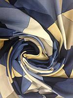 Кашемировый палантин с бахромой в желто синих тонах, фото 1